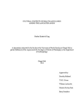 Dissertation or Thesis | Cultural Contexts of Health and